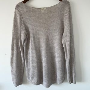 St. Tropes West Pure Linen boatneck knit sweater size large Light gray